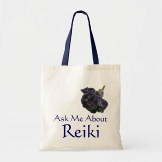 Ask Me About Reiki Purple Rose Tote Bag