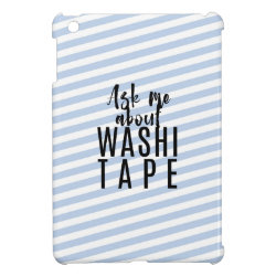 Ask Me About Washi Tape - Blue Candy Stripes iPad Mini Covers