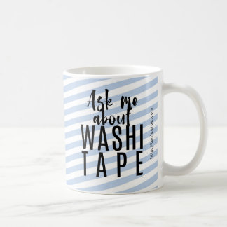 Ask Me About Washi Tape - Blue Candy - WHITE Coffee Mug