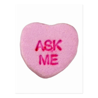 Ask Me Candy Valentine Heart Postcard