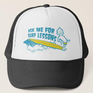 Ask Me For Surf Lessons! Cap in Aqua