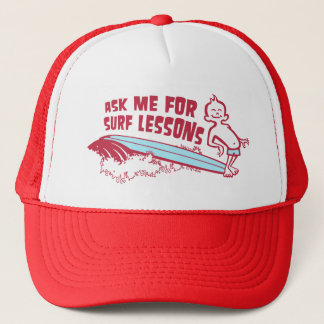 Ask Me For Surf Lessons! Cap in Red