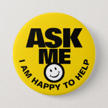 Ask me I am happy to help yellow black badge Button