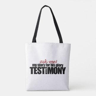 Ask me my testimony! Tote bag