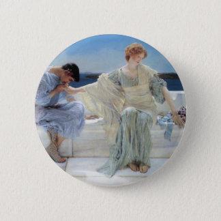 Ask Me No More by Alma Tadema, Vintage Romanticism Pinback Button