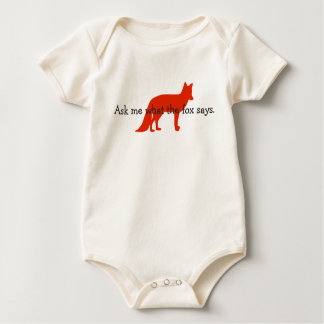 Ask me what the fox says. baby bodysuit