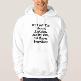Ask_My_Wife,_Mens_White_Funny_Logo_Sweatshirt. Hoodie