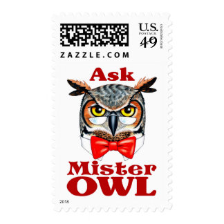 Ask Owl Postage Stamps
