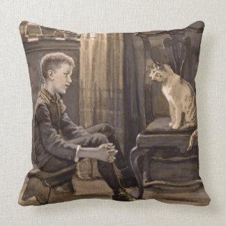 Ask the Cat 1888 Throw Pillow