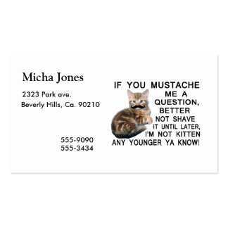 Ask The Kitten With A Mustache A Question Business Card Template