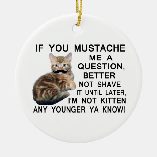 Ask The Kitten With A Mustache A Question Ceramic Ornament