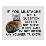 Ask The Kitten With A Mustache A Question Posters