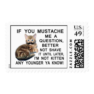 Ask The Kitten With A Mustache A Question Stamp