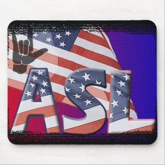 ASL AMERICAN FLAG GRUNGE SIGN LANGUAGE MOUSEPADS