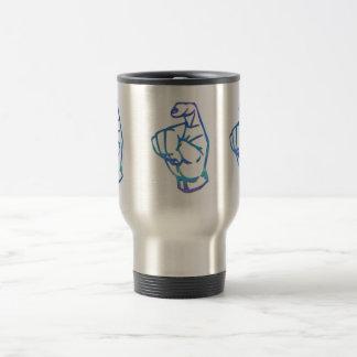 ASL American Manual Alpahbet Letter X Travel Mug