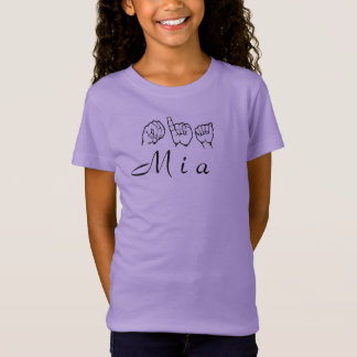 ASL American Sign Language Fingerspelled Mia T-Shirt
