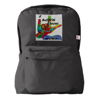 ASL American Sign Language I LOVE YOU MORE American Apparel™ Backpack