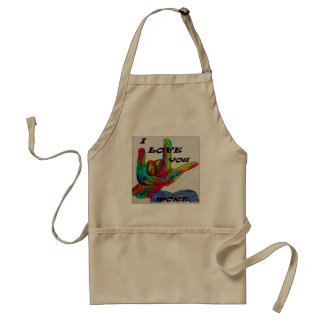ASL American Sign Language I LOVE YOU MORE Apron