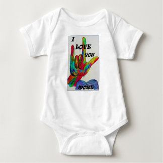 ASL American Sign Language I LOVE YOU MORE Baby Bodysuit