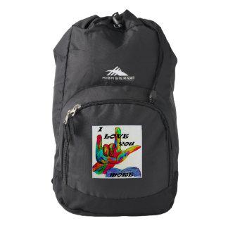 ASL American Sign Language I LOVE YOU MORE Backpack