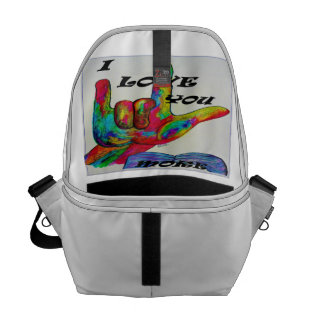 ASL American Sign Language I LOVE YOU MORE Courier Bag