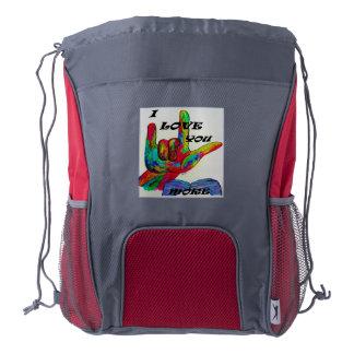 ASL American Sign Language I LOVE YOU MORE Drawstring Backpack