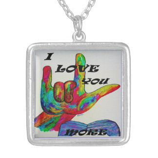 ASL American Sign Language I LOVE YOU MORE Silver Plated Necklace