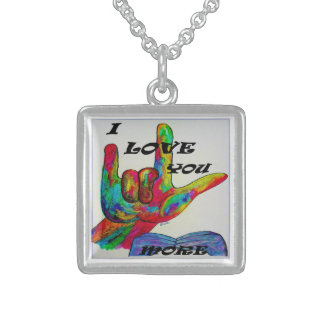 ASL American Sign Language I LOVE YOU MORE Sterling Silver Necklace