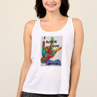 ASL American Sign Language I LOVE YOU MORE Tank Top