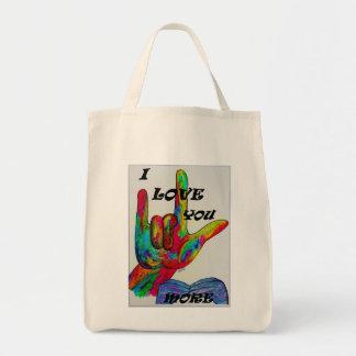 ASL American Sign Language I LOVE YOU MORE Tote Bag