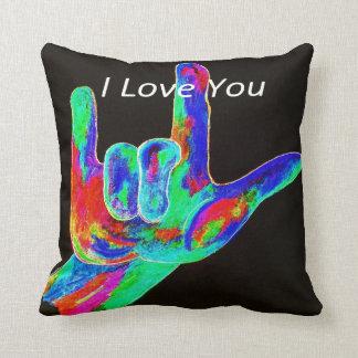 ASL American Sign Language I LOVE YOU Pillow