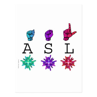 ASL and ILY FLOWERS Postcard