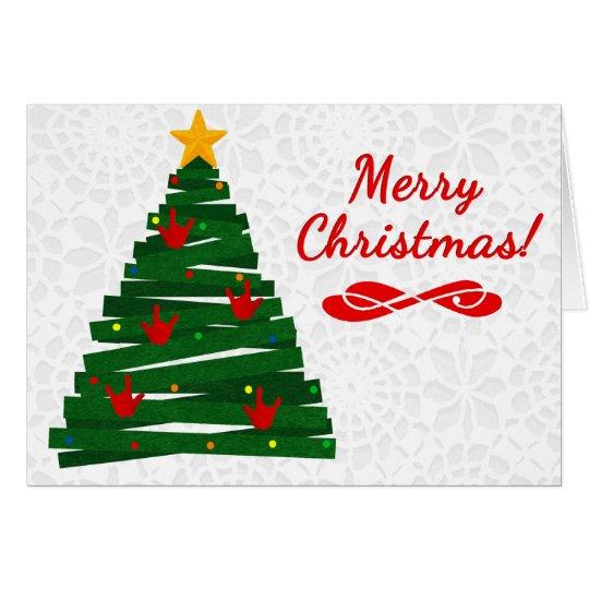Big W White Christmas Tree: ASL Christmas Tree Card W/ ILY Handshape Ornaments