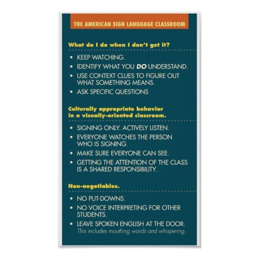 ASL Classroom guidelines. poster