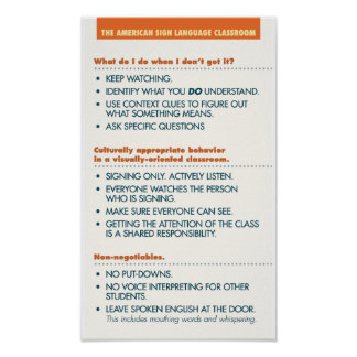 ASL Classroom guidelines. poster (light bkgd)