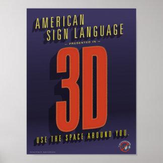 ASL en 3D. Un cartel de la sala de clase Póster