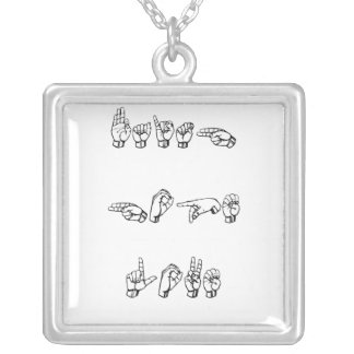 ASL Faith Hope and Love Square Pendant Necklace