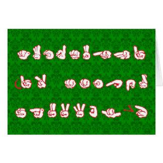 ASL Graffiti No L Red for Christmas on Green Damas Card