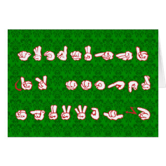 ASL Graffiti No L Red for Christmas on Green Damas Stationery Note Card