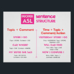 """ASL Grammar Poster<br><div class=""""desc"""">Stop struggling with proper ASL grammar and trying to remember what goes where! Keep this poster nearby for quick reference and easy to understand examples to get you practicing and mastering your ASL grammar in no time!</div>"""