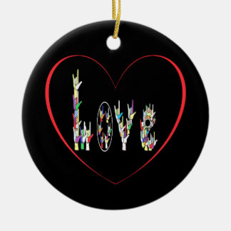 ASL Heart Full of Love Ceramic Ornament