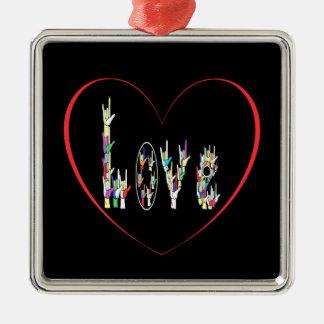 ASL Heart Full of Love Metal Ornament