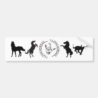 ASL I LOVE HORSES (AMERICAN SIGN LANGUAGE) CAR BUMPER STICKER