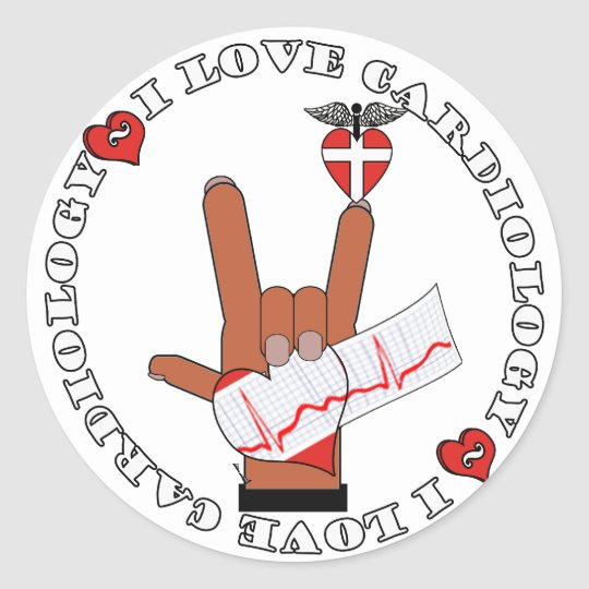 ASL I Love Sign CARDIOLOGY Classic Round Sticker
