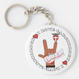 ASL I Love Sign CARDIOLOGY Basic Round Button Keychain
