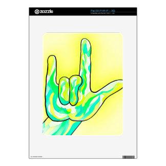 ASL I Love You Baby Yellow iPad Skin