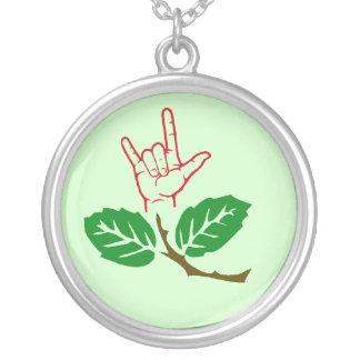 ASL I Love You Flower Necklace