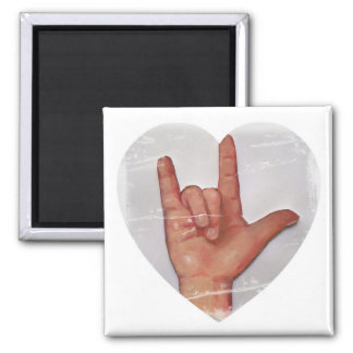 "ASL ""I LOVE YOU"" HEART SHAPE #2 FRIDGE MAGNETS"