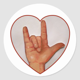 ASL I LOVE YOU, HEART SHAPED CLASSIC ROUND STICKER