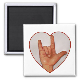 ASL I LOVE YOU, HEART SHAPED MAGNET